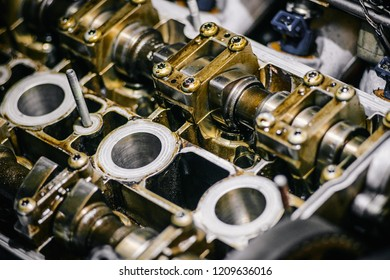 Disassembled internal combustion engine, close-up of the block head. The concept of a major overhaul.