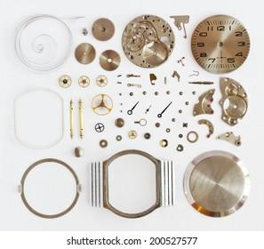 Disassembled mechanical wrist watch