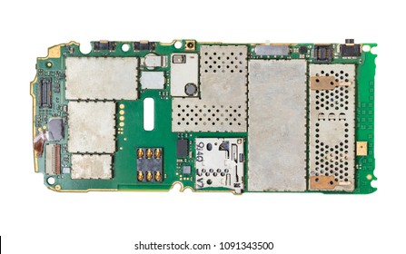 disassembled mobile phone on white isolated background
