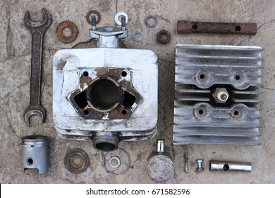 Disassembled Motorcycle Cylinder.
