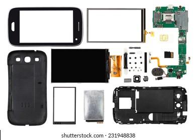 disassembled smartphone isolated on white background