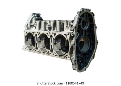 A disassembled of a three-cylinder engine block isolated on a white background with a clipping path.
