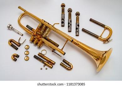 Disassembled trumpet, maintenance