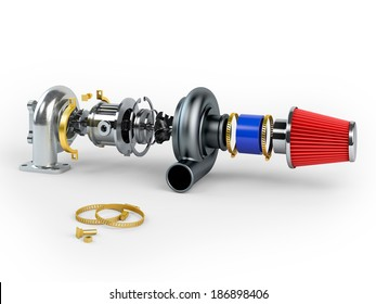 Disassembled turbocharger sistem with air filter isolated on white background