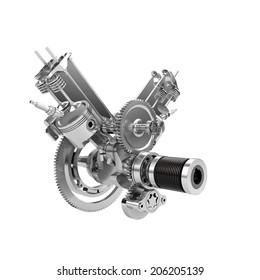 Disassembled V-twin engine of large powerful motorbike isolated on white
