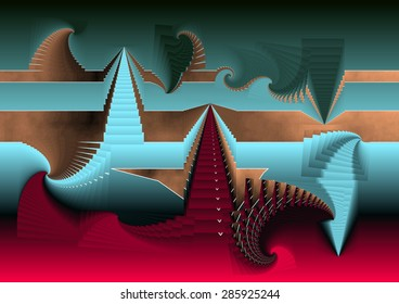 The disaster of Egypt eaten by spirals of religious ideologies that dynamite its foundations of history and knowledge, turquoise, green, sienna and a red blood base, abstract expressionism,