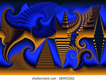 The disaster of Egypt eaten by spirals of religious ideologies that dynamite its foundations of history and knowledge,Abstract digital art,fractal neon brown,electric blue,yellow,infinity