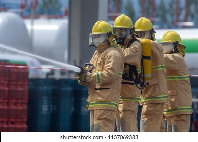 Disaster training exercise depicting gas station in Lampang, Thailand - 18 July 2018.