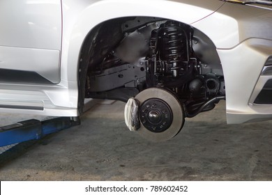 Disc car maintenance and service in car service center.close up.