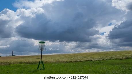 Disc Golf basket before storm
