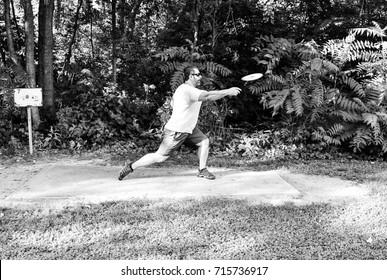 Disc Golf Tee Shot, Black & White