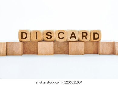 Discard word on wooden cubes