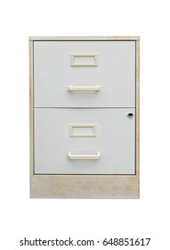Discarded beige two metal drawer filing cabinet. Shabby, but useful freebie.