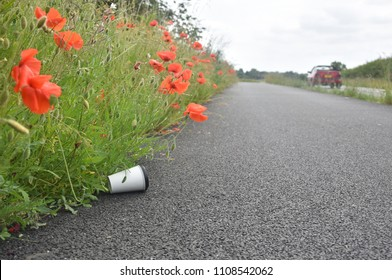 A discarded coffee cup lies at the side of a path nestled amongst poppy flowers as car speeds by