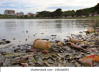 Discarded plastic debris polluting a waterway in an urban park.