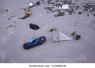 discarded shoe on the beach