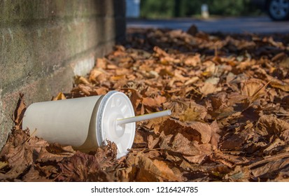 Discarded soda cup with straw lies in fallen leaves at the base of a brick wall by the roadside in the autumn