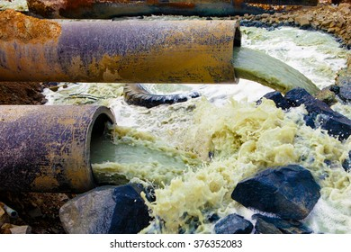 Discharge of liquid chemical waste. The danger for the environment.