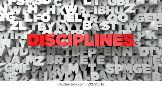 DISCIPLINES -  Red text on typography background - 3D rendered royalty free stock image. This image can be used for an online website banner ad or a print postcard.