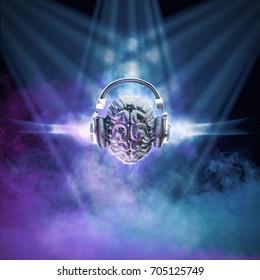 Disco ball brain / 3D illustration of mirror ball human brain with headphones in smoky nightclub environment