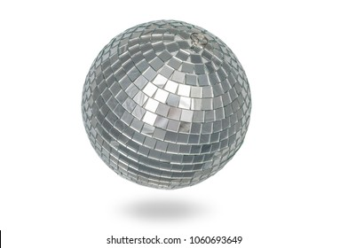 Disco ball close up on white background