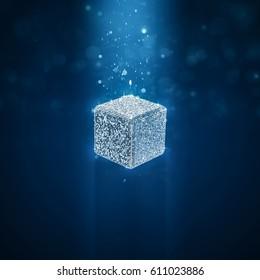 Disco ball cube / 3D illustration of cube shaped glitter ball