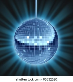 Disco ball dance night as a mirror ball symbol of fun and a groovy party in a nightclub or dancing club as a celebration to let loose and enjoy the groove of the music.