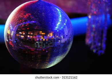 Disco ball at nightclub. Party background. Selective focus