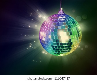 Disco ball on black background
