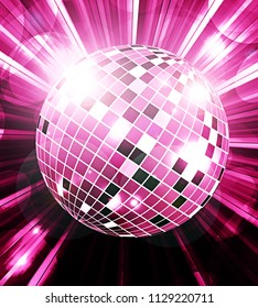 Disco ball party background with rays