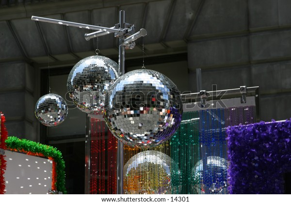 disco balls and decorations