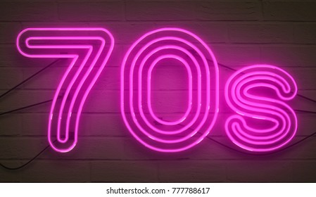 disco dance 70s neon sign lights logo text glowing color purple on dark black brick background, vintage style