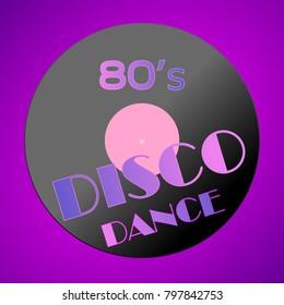 Disco dance violet retro poster background. Simple illustration.