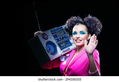 Disco girl with a tape recorder