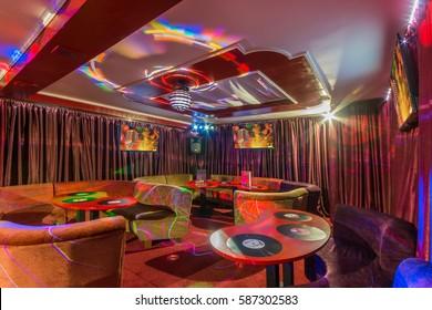 Disco lights at karaoke club