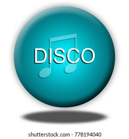 Disco music button isolated, 3d illustration
