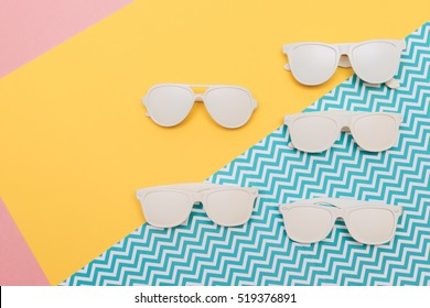 disco set for party with different white sunglasses in retro vintage style
