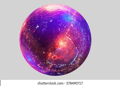 Discoball on gray background blue and red shine