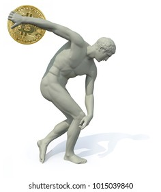 discobolus with bitcoin launching, 3d illustration