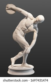 Discobolus (discus thrower). Roman marble copy of Myron's Discobolus. Isolated with clipping path.