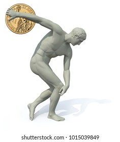 discobolus with dollar coin launching, 3d illustration