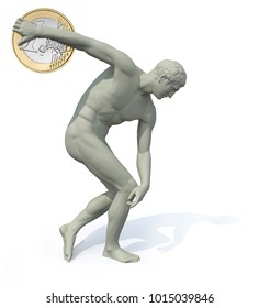 discobolus with euro coin launching, 3d illustration