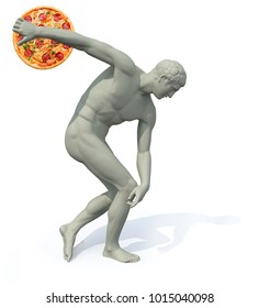 discobolus with pizza launching, 3d illustration