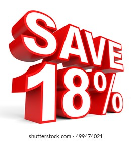 Discount 18 percent off. 3D illustration on white background.