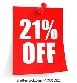 Discount 21 percent off. 3D illustration on white background.