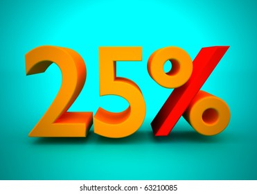 Discount of 25 percent for a green background