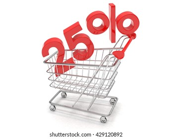 discount 25%, shopping cart on white background. 3d rendering.