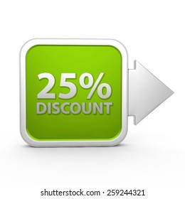 Discount 25 square icon on white background