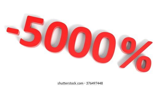 Discount 5000 percent off sale. 3D illustration.