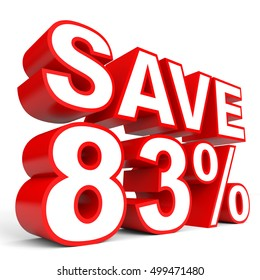 Discount 83 percent off. 3D illustration on white background.